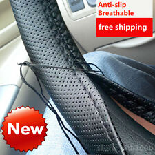 DIY Leather Car Auto Steering Wheel Cover With Needles and Thread Black good 3FK