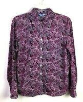 IZOD Women's Blouse Button-Down M Pink Paisley 100% Cotton *D