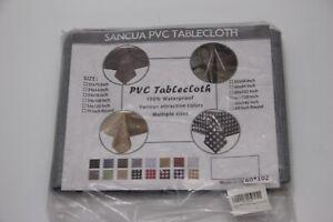 Sancua Gray Plastic 100% Waterproof Tablecloth - 60 x 102 Inch - Vinyl PVC Recta