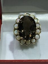 14k Gold Ring With Smokey Quartz And Opals