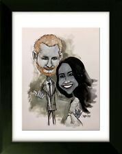 Original Drawing with Frame - The Royal Wedding - Harry and Megham - 16x20