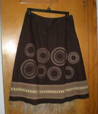 Talbots Brown Linen Skirt with Embroider & Trim Size 2 - Fully Lined