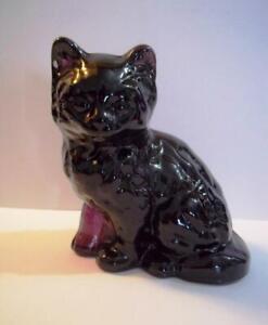 Mosser Handmade Glass Amethyst Purple Persian Cat Kitten Figurine Paperweight