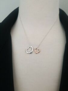 Tiffany Co Open Heart Sterling Silver 18K Rose Gold Necklace