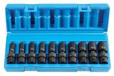 "Grey Pneumatic 1210UMSD 3/8"" Drive Metric Universal Semi Deep Impact Socket Set"