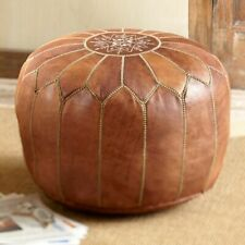 Moroccan Leather Pouf Ottoman Footstool Pouffe Handmade Light Brown Lovely Pouf