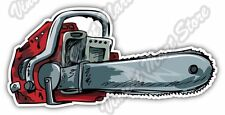 "Chainsaw Chain Saw Lumberjack Logging Tree Car Bumper Vinyl Sticker Decal 6""X3"""