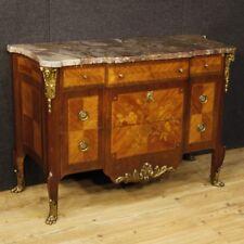 Comò intarsiato cassettone in legno mobile cassettiera piano marmo stile antico