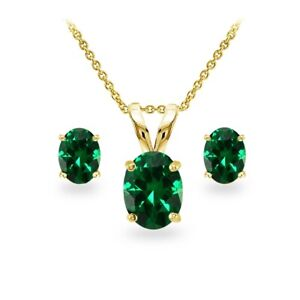 Gold Tone over Silver Simulated Emerald Oval-cut Necklace and Stud Earrings Set