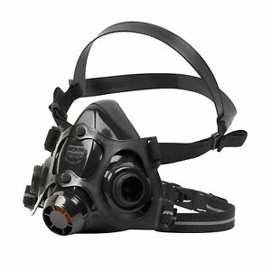 Honeywell 770030L 7700 Series Half Mask Facepiece, Large, Black Silicone