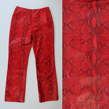 CLASSIQUES ENTIER Red Leather Snake Skin Print Texture Lined Pants 8 Vintage?