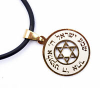 pendant&cord Jewish Prayer Shema Israel & Star of David Judaica Stainless gold