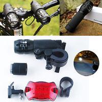 2x CREE Q5 LED Bicycle Cycling Torch Head Light Flashlight Tail Rear Light Lamp
