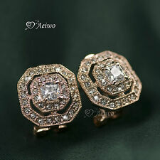 18K GOLD GF MADE WITH SWAROVSKI CRYSTAL NECKLACE STUD EARRINGS WEDDING PARTY SET