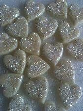 Edible glittery large fondant hearts-white chocolate flavour -cake topper x25