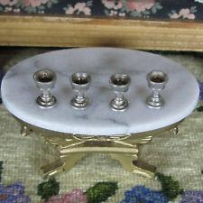 Vtg Dollhouse PEWTER GOBLET CUP LOT Miniature Metal Doll Dish Colonial Primitive
