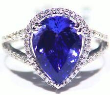 5.16ct 18ct Oro Tanzanita Natural Diamante Vintage AAA Anillo Compromiso Boda