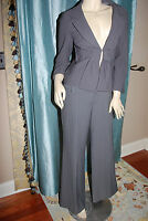 NANETTE LEPORE Spring GRAPHITE GRAY PINSTRIPED PANT SUIT sz 12 10EXC