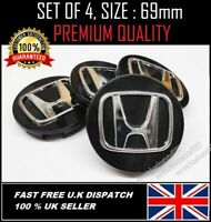 HONDA ALLOY WHEEL CENTRE CAPS 69mm BLACK  FIT ACCORD CRV CIVIC TYPE R