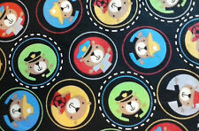 """Transportation Police Fire Bus Bears in Circles on Blk Cotton Fabric  54"""" x 44"""""""