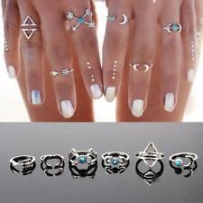 Fashion Bohemia Knuckle Joint Turquoise Arrow Moon Midi Rings Set Jewelry