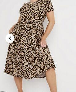 Simply Be Plus Size 32 Leopard Smock Midi Dress