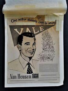 1950s antique ORIG AD ART mockup VAN HEUSEN oxford shirts YALE UNIVERSITY