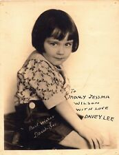 DAVEY LEE AUTOGRAPHED HAND SIGNED VINTAGE 8x10 PHOTO 1920's American Child Actor