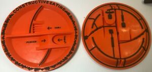 TWO Constructive Eating Construction Divided Kids Plastic Plate No Utensils