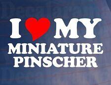 Car Sticker I LOVE HEART MY MINIATURE PINSCHER Van Window Bumper Boot Decal