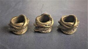 Dreadlock beads, hair braid beads, beard beads 8mm hole rustic bronze alloy x 3