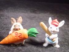 Hallmark Merry Miniatures 2Pc 1992 Bunny & Carrot & 1990 Bunny Baseball Player