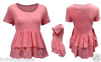 Ellos ladies womans sexy ruffle pink summer crop front top size 14-20 UK