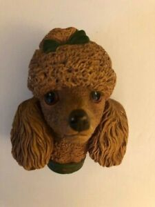 Vintage Bossons Chalk Ware Brown Standard Poodle Head with Bow