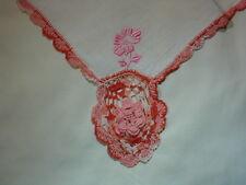White W/ Pink & Orange Hanky Vintage Hankies Handkerchief