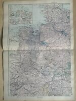 1891 Northwest Germany Hand Coloured Original Antique Map by G.W. Bacon