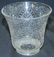 "Antique Floral Etched Glass Chandelier Arm Bridge Floor Lamp Shade 2 1/4"" Fitter"