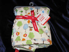 SKIP HOP BABY NURSERY BLANKET CREAM GREEN BROWN TAN TREE BIRD OWL APPLE NEW NWT
