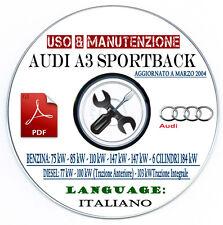 MANUALE USO E MANUTENZIONE AUDI A3 SPORTBACK BENZINA DIESEL LIBRETTO ITALIANO CD