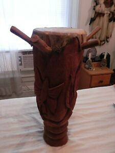 Roger Francois Hand Carved Haitian Drum, 21 x 7, Signed Carved