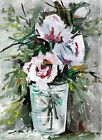 ACEO Original Painting Art Card Acrylic Flower Vase 100% Hand Painted