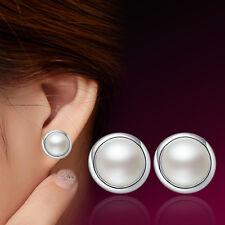 E07 Korea Fashion Womens 925 Sterling Silver Freshwater Pearl Ear Stud Earrings