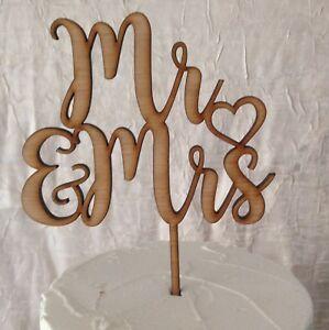 Mr & Mrs Wedding Cake Topper, wooden Rustic Cake Decor, Wood. Australian Made D1