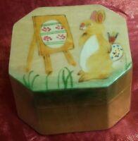Bunny Rabbit Artist Wooden Trinket Box Easter Gift Painted Egg