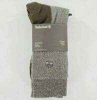 Timberland Crew Socks 2-pack Mens Green Boot Comfort Outdoor Wool Cushioned NWT