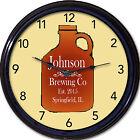 Beer Growler Craft Beers Home Brew Custom Personalized wall Clock Bar Man Cave