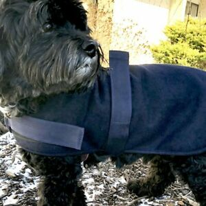 Hugglehounds WOOL DOG JACKET COAT Navy Blue XS-XXL