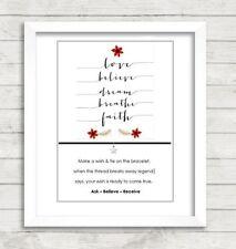 Wish String Charm Bracelet 'Love Believe' Friendship Christmas Gift Card  #47A