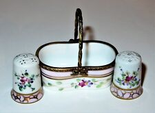 LIMOGES BOX - DUBARRY - FLORAL BASKET & TWO THIMBLES - FLOWERS - ROSES - SEWING