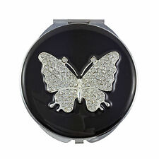 Compact Mirror, Large Butterfly with Swarovski Crystals & Leather Pouch